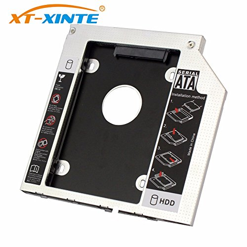 XT-XINTE Interfaz SATA 3.0 de 9 mm 2.5 Pulgadas Soporte de Disco Duro Adaptador SSD Optibay HDD Caddy CD-ROM de DVD Caja del Adaptador del gabinete para PC portátil