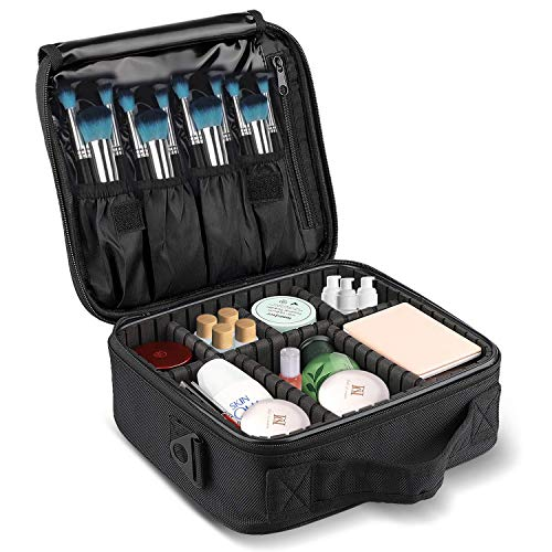 Travel Makeup Train Case LOMEZI,Makeup Cosmetic Case Organizer Portable Artist Storage Bag with Adjustable Dividers for Cosmetics Makeup Brushes Toiletry Jewelry Digital Accessories