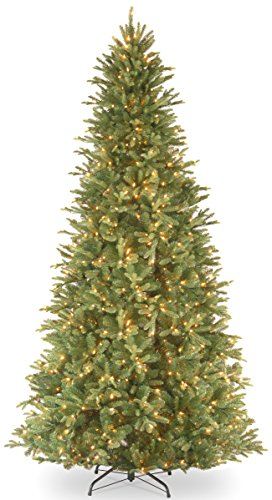 National Tree Company 'Feel Real' Pre-lit Artificial Christmas Tree   Includes Pre-strung White Lights and Stand   Tiffany Fir Slim - 12 ft