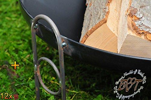 51wN+UpRsRL - BTV Outdoor Feuerschale + Zubehör - Premium-Feuerschale mit Design-Füßen, XL ca. 60 cm MIT Grillzubehör: 12x Grillspiesse Grillbesteck Grillspass Holzkohle