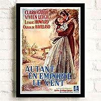 風と共に去りぬクラシック映画ポスター壁アート画像キャンバスポスターとプリントHDプリント油絵壁画リビングルーム家の装飾フレームレス絵画