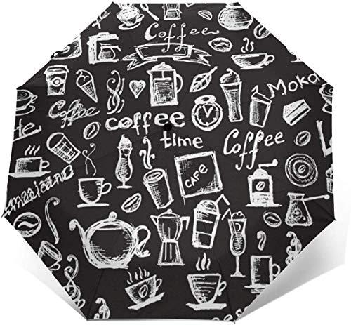 Koffie Gereedschap Automatische Tri-Fold Parasol Parasol Zonnescherm-Buitenkant Print