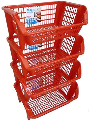 Porta frutta vivande 4 piani scaffale componibile rosso cassette in plastica