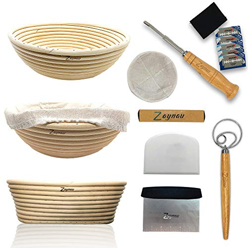Zaynau 10 Inch Round N Oval Bread Banneton Proofing Basket Set With Linen Liner- Metal Bench scraper - Silicone Dough Scraper- Danish Dough Whisk -Scoring Lame N Extra Blades