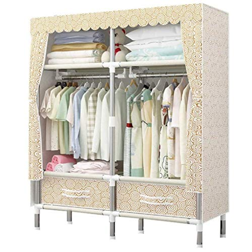 LJP Armario simple con cajones, organizador de ropa Protable con armario de almacenamiento para colgar ropa (color: A)
