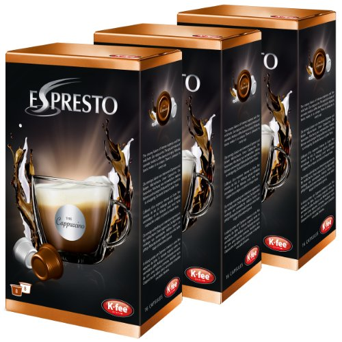 K-Fee Espresto Cappuccino, Espresso, Kaffee, Arabica, 3er Pack, 3 x 16 Kapseln, 24 Portionen
