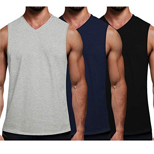 COOFANDY Men's V Neck Shirts Pack Sleeveless Muscle Tee Shirts Lightweight Cut Off Workout Tanks T Shirts Multipack