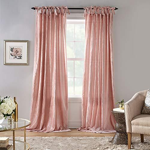 "Elrene Home Fashions Korena Tie-Top Crushed Velvet Window Curtain Panel, 52"" x 84"" (1, Blush"