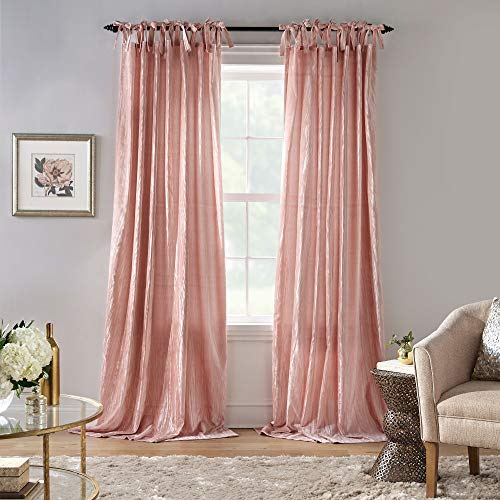 "Elrene Home Fashions Korena Tie-Top Crushed Velvet Window Curtain Panel, 52"" x 84"" (1, Blush"