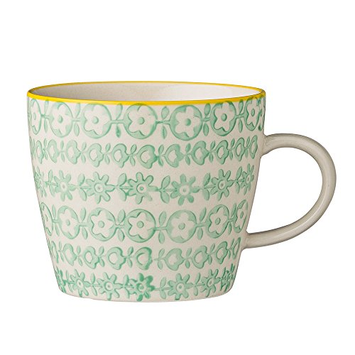 Bloomingville Tasse mit Henkel Carla Porzellan grün Kaffeetasse handbemalt NEU 2015