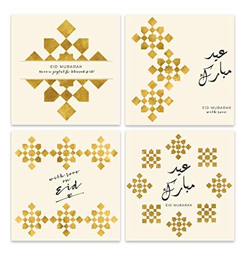 Eid Mubarak Karten NUR Collection Design Islamische Kunst, 4 Karten Set