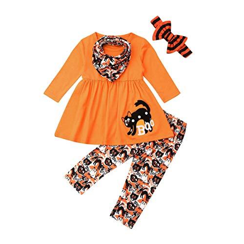 Loalirando Kleinkind Mädchen Halloween Kleid Langarmshirt+ Kürbis Legging Outfits Set Herbst Kleidung Set (Halloween H-Orange, 2-3 Jahre)