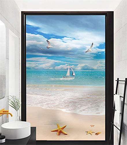 Blickdicht Fensteraufkleber Wiederverwendbar, Statisch Ohne Klebstoff Milchglasfolie 3D Meereslandschaft Selbstklebend Fensterfolie Sichtschutz für Bad Küche Dekor,B,60x120cm