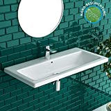 Alpenberger Nano-Beschichtung Handwaschbecken aus hochwertiger Keramik 90 X 45 cm
