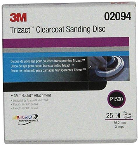 3M 2094 Clear Coat Sanding Abrasive Disc, 3 Discs per Carton Trizact Hookit Klarlack-Schleifscheibe 471LA, 02094, 7,6 cm, P1500, 25 Scheiben pro Karton, 1