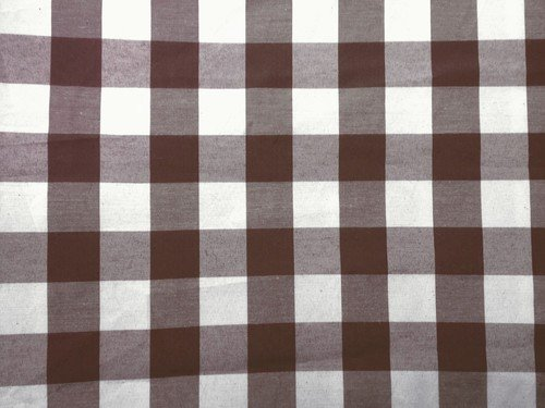 lovemyfabric Gingham/Checkered Square Cotton Blend Italian Restaurant Style Overlay/Tablecloth for Picnic and Park Party (48'X48' Inch, Brown)