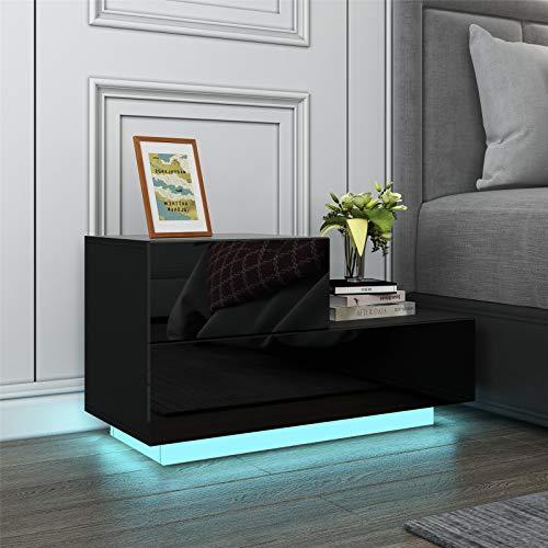 UNDRANDED Universal Nachttisch Hochglanz Front Moderner Nachtschrank Beistelltisch mit 2 Schubladen RGB LED Streifen 70x35x38cm (Schwarz)