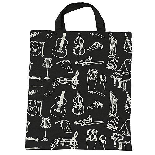 KingPoint Baumwollhandtasche Damen Einkaufstaschen, bedruckt mit Notenschlüsseln, hohen Noten und Musikinstrumenten Designs. Muiscal Instruments Black