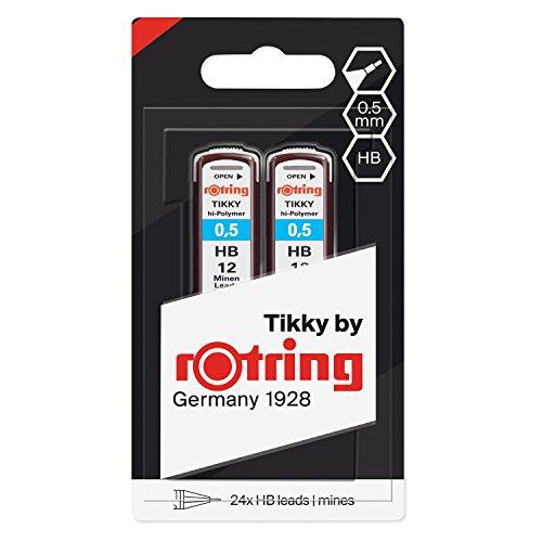rOtring 1904836 Hochpolymer-Ersatzminen für Feinminenstifte, 0,5mm, HB, 2x12Minen