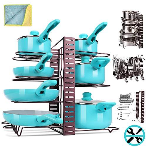 MASTERTOP Soporte para sartenes ajustable con 5 paños de microfibra, organizador con 8 compartimentos para guardar sartenes, ollas y vajillas