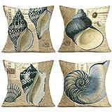 JOOCAR Juego de fundas de almohada decorativas con diseño de caracol de mar y caracol de animales marinos, juego de 4 fundas de almohada de 50 x 50 cm