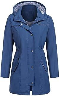 Sumen Women Rain Jacket Outdoor Hoodie Waterproof Hooded Long Coat Windbreaker