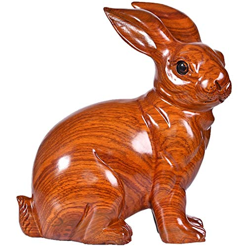 YISPING Home massief houten dierenteken konijn handwerk woonkamer wijnkast boekenkast TV-kast decoraties (l16xb8xh18cml20xb10xh23cml26xb12xh28cm) bureau knutselen