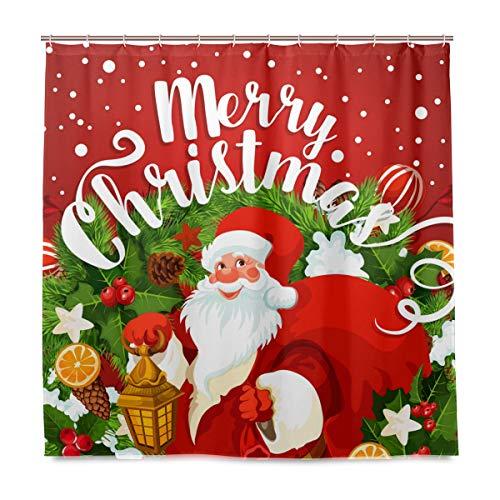 Santa Clause Christmas Fabric Shower Curtain Merry Christmas Words Gift Dreamlike The Santa Claus Bathroom Curtains Pine Ribbon Snowflake Dream Decor Quick Dry 71 X 71