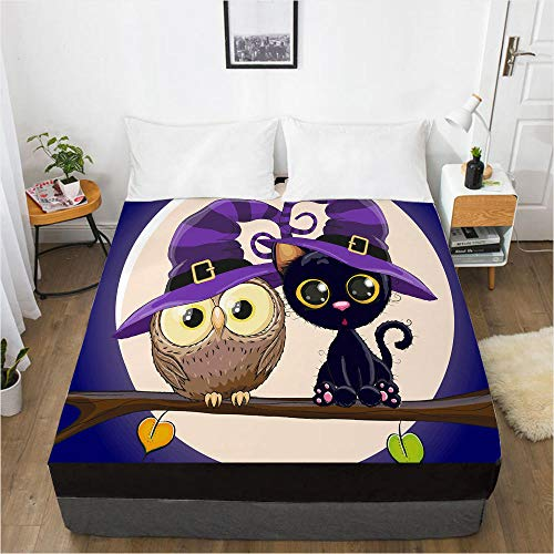 lhmlyl Mattress Protector Doubledigital Home Textile 3D360 Degree Li Mattress Protective Cover Cartoon Halloween-Halloween 006-Black-F_137X190X40Cm