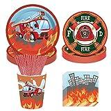 69 pièces de vaisselle pour enfants, gobelets en papier pour camion de pompiers, gobelets en papier jetables et vaisselle