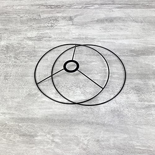Lealoo - Set de estructura negra de 20 cm de diámetro, para lámpara de techo o tulipa, anillos redondos epoxi, para casquillo de 40 mm de diámetro, E27