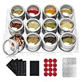 12 Stainless Steel Spice Tins with Wall Mounted, Magnetic Spice Jar with Labels Spice Racks Container with Lid and Small Holes Rust Free for Sprinkle-Easy to Clean (12 Spice Tins +Metal Wall bases) …