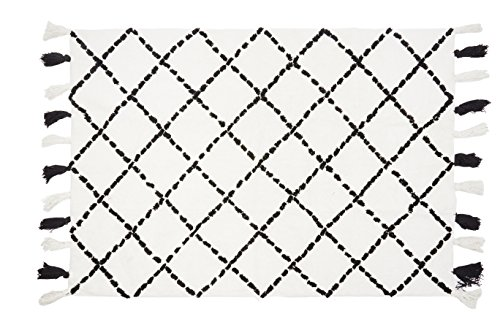 Aratextil. Alfombra Infantil 100% Algodón lavable en lavadora Colección Bereber Tanger Negro 120x160 cms