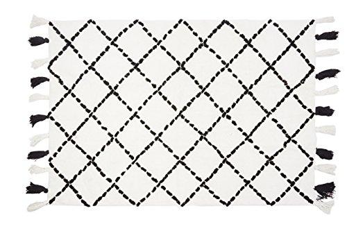 Aratextil. Tapis pour enfant 100% coton lavable en machine à laver Collection berbère Tanger Noir 120 x 160 cm