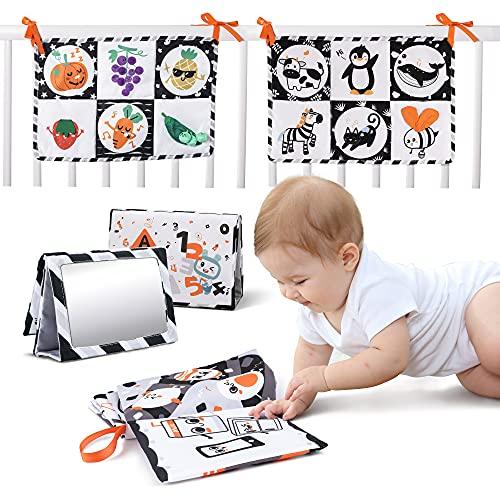 TUMAMA Stoffbücher für Babys,Weiche Bücher für Babys,Schwarz Weiß Buch Baby,Babys erste Bilder mit Spiegeln,Baby Junge Mädchen lernspielzeug,Baby Spielzeug Neugeborene Geschenk(3pack)