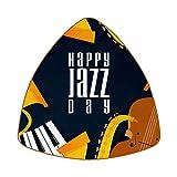 Posavasos triangulares para bebidas Happy Jazz Day saxofón, piano, violín, música, taza de cuero, alfombrilla para proteger muebles, resistente al calor, decoración de bar de cocina, juego de 6