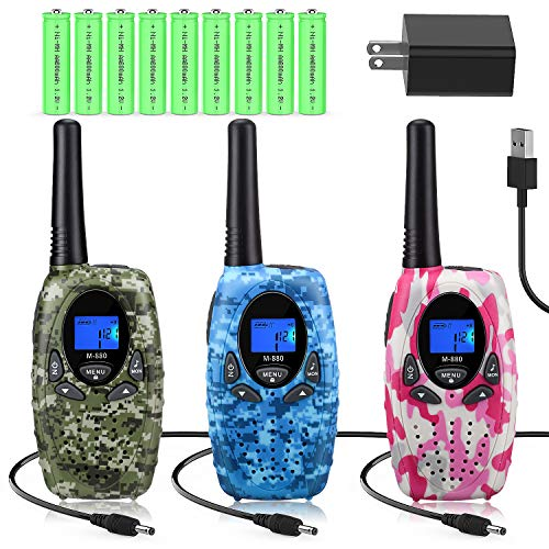 Walkie Talkies Rechargeable for Kids/Adults, Topsung FRS Rechargeable Two Way Radios Long Range with Charger Batteries, Walky Talky for Camping (Camouflage) (M880(Camo Blue Green Pink))