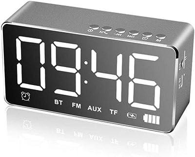 GJH Reloj Despertador Digital LED con Altavoz Bluetooth Y Radio FM, Altavoz Estéreo con Sonido