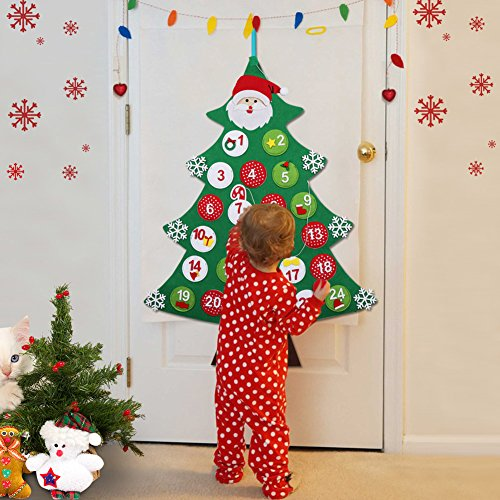 AerWo Chirstmas Tree Advent Calendar Felt Countdown to Christmas Calendars for Kids, Holiday New Year Xmas Decorations for Home Door...
