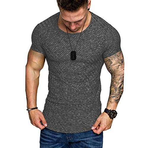 T-Shirt Herren Sommer Sport Rundhals Shirt Slim Fit Drucken Oansatz Kurzarm Bluse Outdoor Sweatshirt Männer Jogging Trikot Schwarz Shirt