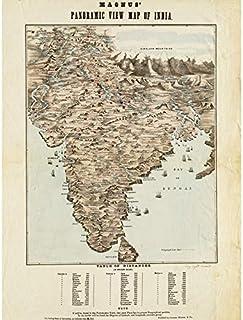 Magnus 1857 Panoramic Map India Distances Unframed Wall Art Print Poster Home Decor Premium 地図インド壁ポスターホームデコ