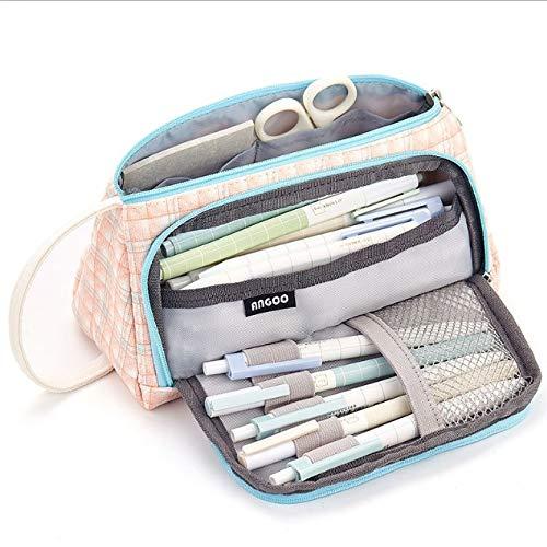 DishyKooker Pen Pencil Case Großformat Leinwand Aufbewahrungsbeutel Schreibwaren Taschenhalter für Schulbüro Study Supplies schottisches Plaid