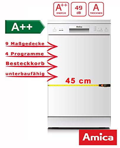 Amica GSP 14746 W Semi integrierter 9places A + + Spülmaschine – Geschirrspülmaschinen (Semi Integriert, weiß, Slimline (45 cm),...
