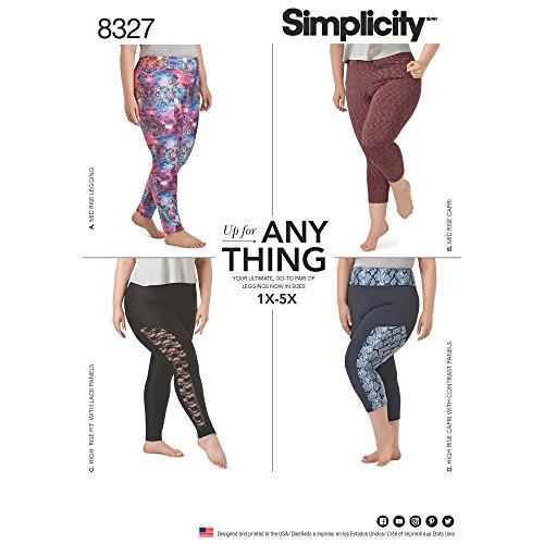 Simplicity patroon 8327 A (1 x 5 x) dames gebreide legging met lengte variaties, wit