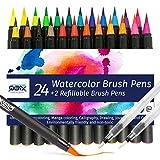 QBIX Pinselstifte Aquarell Set 26 Tlg.| Watercolor Brush Pen | Stifte zum Malen, Handlettering, Kalligraphie | Wasserstifte Aquarell nachfüllbar | Lettering Pens | Pinselstift Geschenke für Zeichner