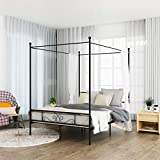 WeeHom Queen Canopy Bed Frame Metal Platform 4 Posters Sturdy Steel Mattress Foundation with Headboard and Footboard Strong Steel No Box Spring Needed,Black