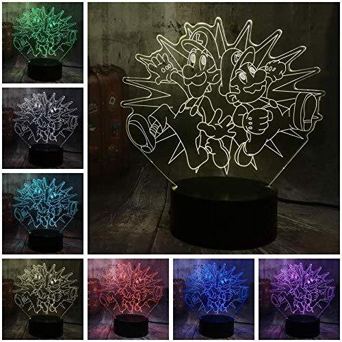 3D Illusion Lamp Night Light Optical 7 Colours Game Action Figure Table Lamp Decorations for Bedroom Toys for Children Christmas Gifts