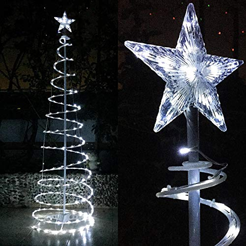 Yescom 6ft LED Spiral Christmas Tree Light 182 LEDs Battery Powered Indoor Outdoor Holiday Decoration Lamp Multi-Color