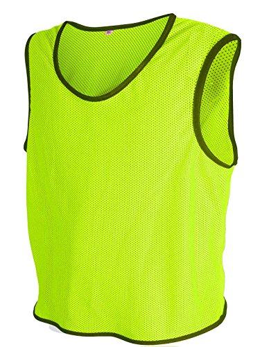 ALL THE GOOD 10x Fußball Leibchen Trainingsleibchen Markierungshemd Fußballleibchen Trikots (Neon Geld, M/L)