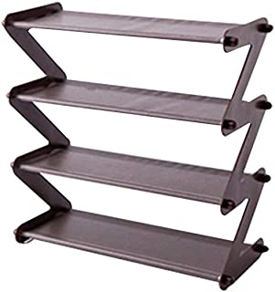 4 Tier Shoe Rack Foldable Shoe Shelves Shoe Storage Rack Non Woven Stainless Steel Foldable Save Space Multi Layer Assembled Shoe Holder(Coffee)